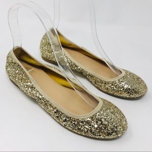 J Crew Italy Lula Gold Glitter Ballet Flats Shoes